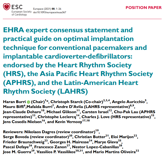EHRA expert consensus statement and practical guide on optimal implantation technique for conventional pacemakers and implantable cardioverter-defibrillators